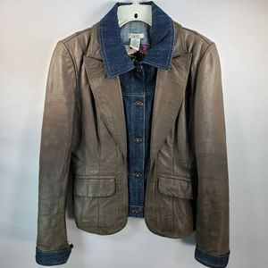 CACHE SOFT BROWN LEATHER AND DENIM JACKET SIZE 8